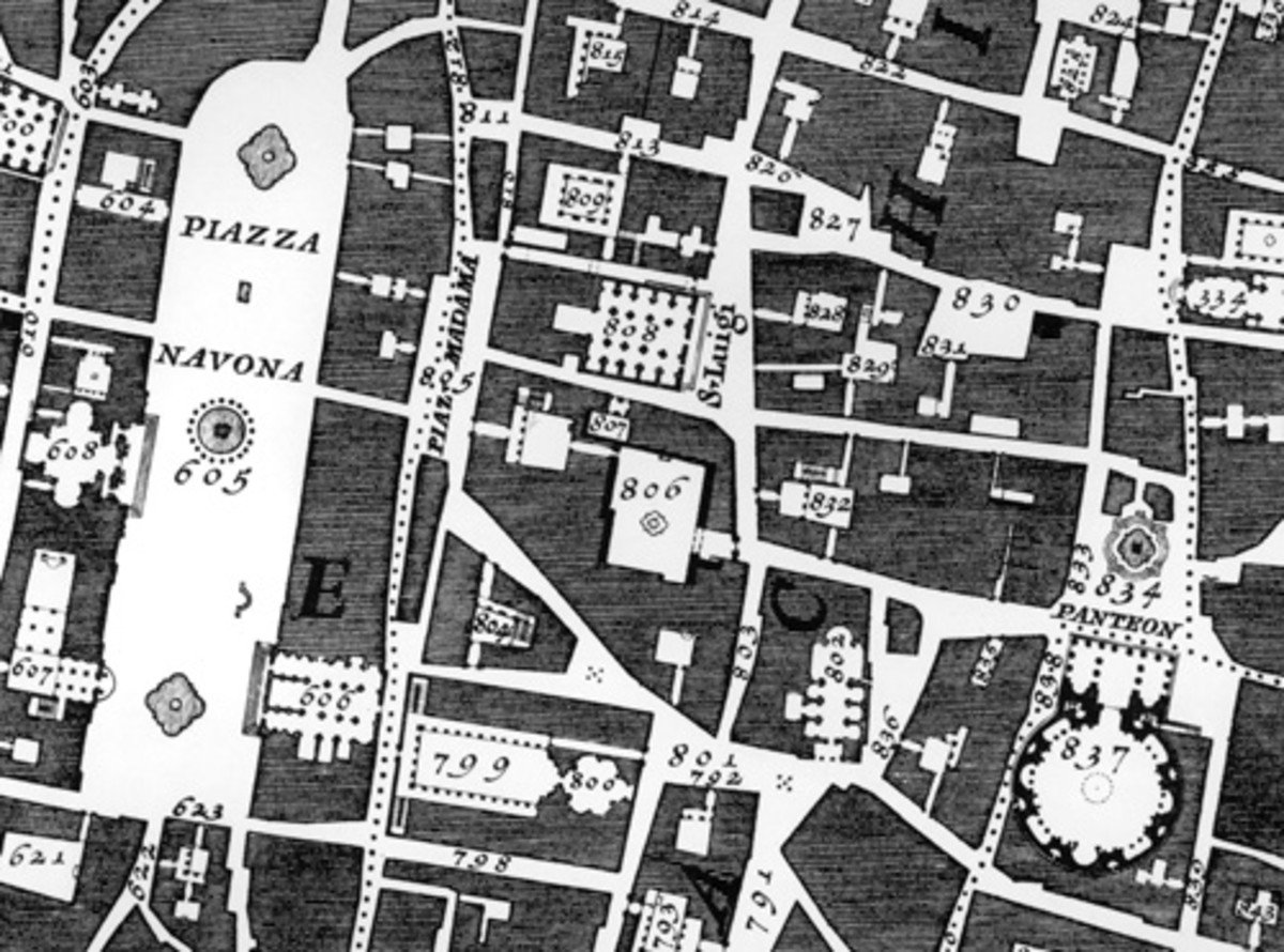 """Nolli, who mapped the churches of Rome in 1748. The pochéd plans show some unique buildings, churches, of the public sector-call them Ducks if you like. The white areas are the public open space. The private sector is hatched grey. """"Nolli"""" makes the"""