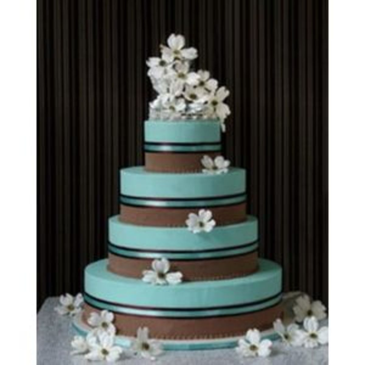 Turquoise and chocolate brown wedding cake theme [polyvore.com]