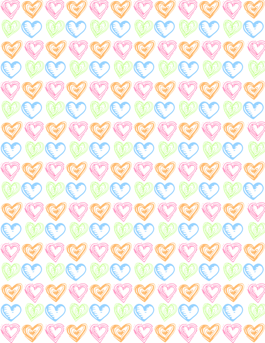 Free small hearts scrapbook paper design -- white background