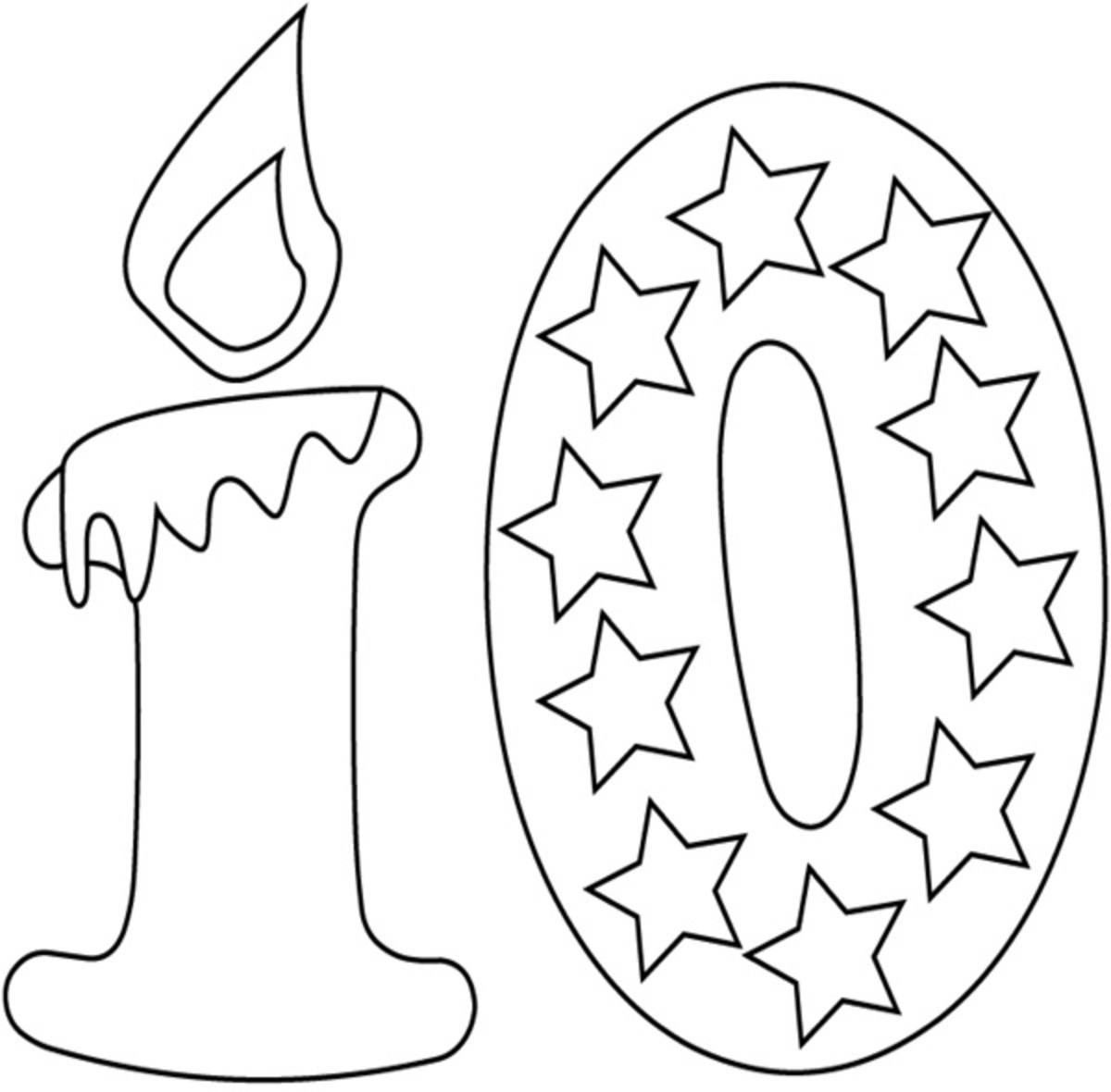 Number ten birthday monogram coloring sheet