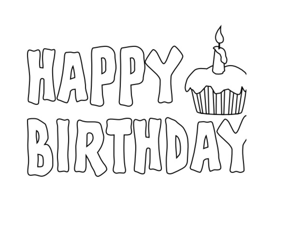happy birthday coloring page printable