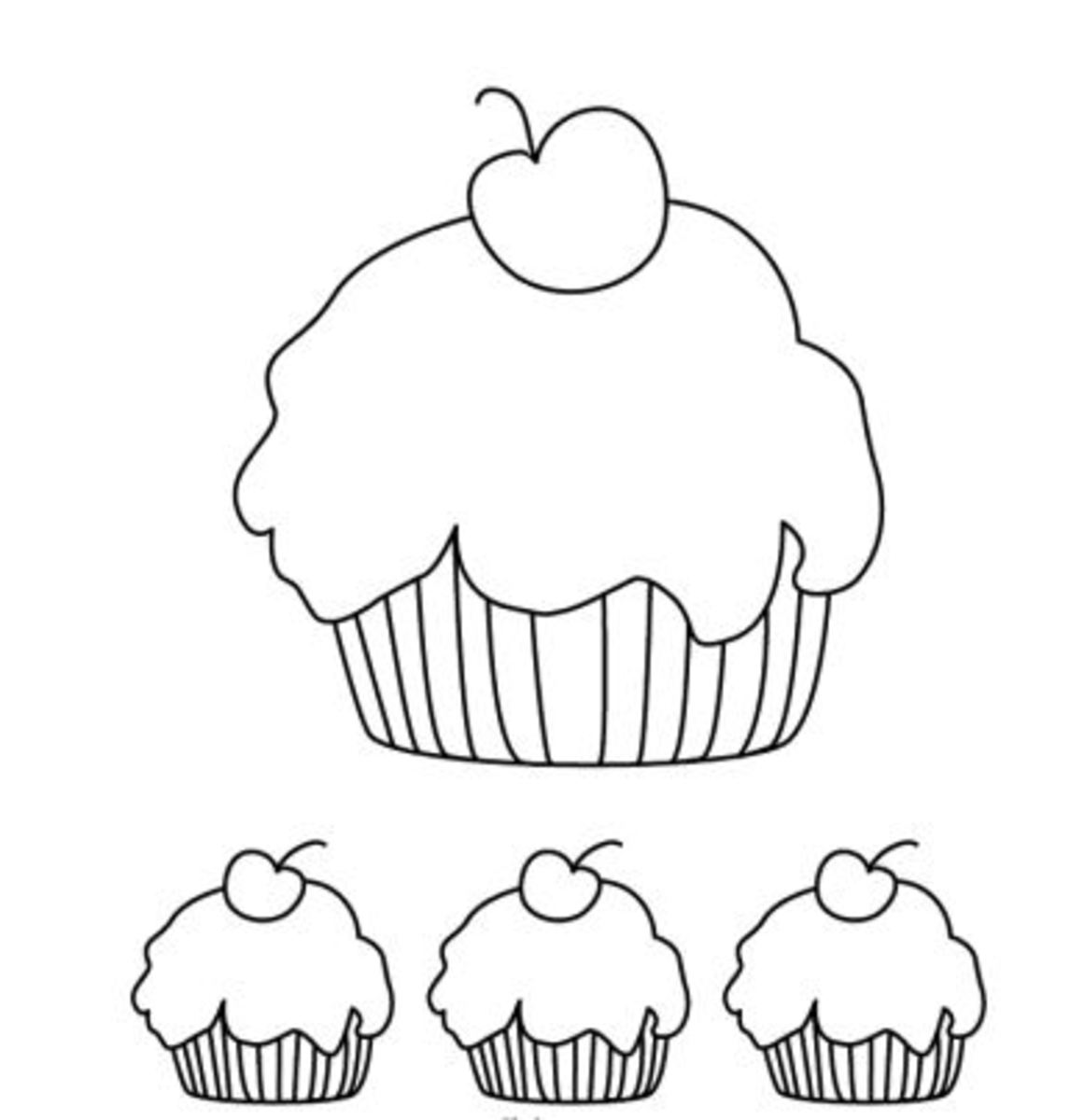 Cupcakes coloring page, birthday coloring sheet