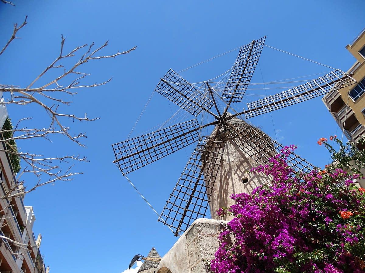 Street Scene with Windmill - Palma de Mallorca - Mallorca - Spain