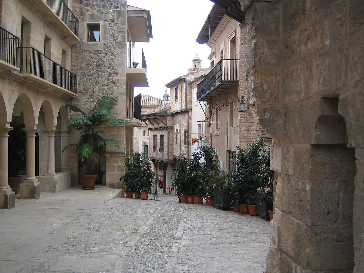 A tourist attraction called The spanish village(Pueblo Español) in Mallorca, Spain.