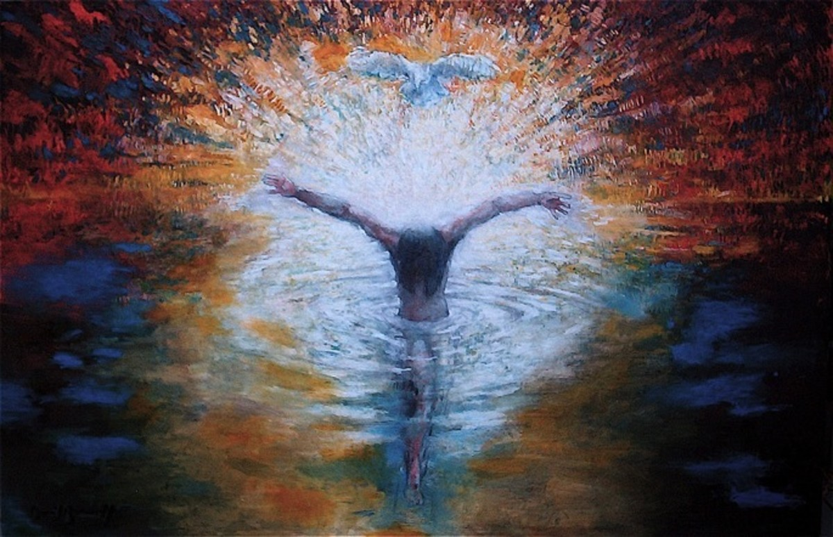 The Baptism of Christ Painting Status: This painting is owned by Saint George Cathedral, Jerusalem.  Painting by Daniel Bonnell.    Note: Head bending down