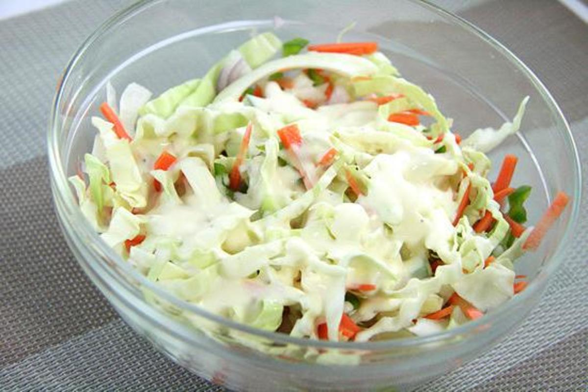 You want to cover your bowl of slaw with plastic wrap and chill at least two hours before using it.