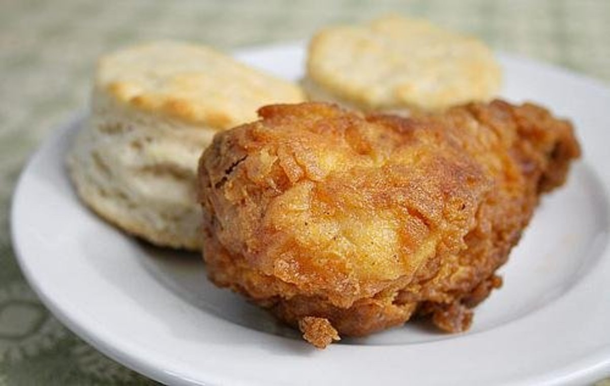 There's nothing better than fried chicken and biscuits. When I was growing up this was our usual snack.