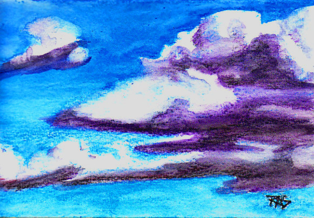 "Cumulus clouds in Derwent AquaTone watercolor pencils on cold press/Not surface watercolor paper, 4"" x 6"", Robert A. Sloan, photo reference by oldrockchick on WetCanvas.com"
