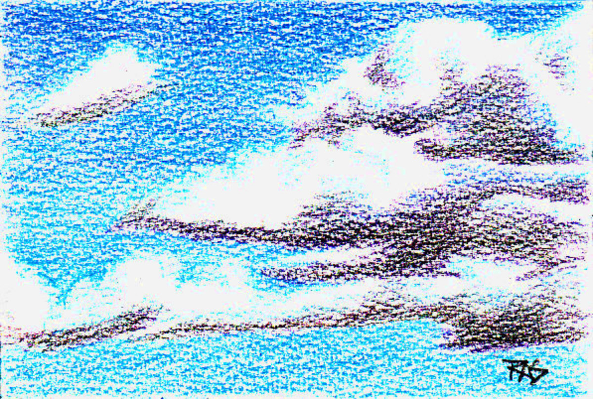Sky shaded for realism, more colors added to shadows under clouds, some sky blue modeling on the clouds.