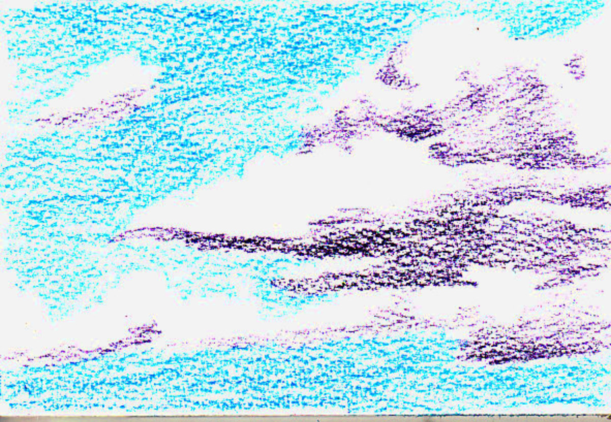how to draw clouds with aquarelle pencils