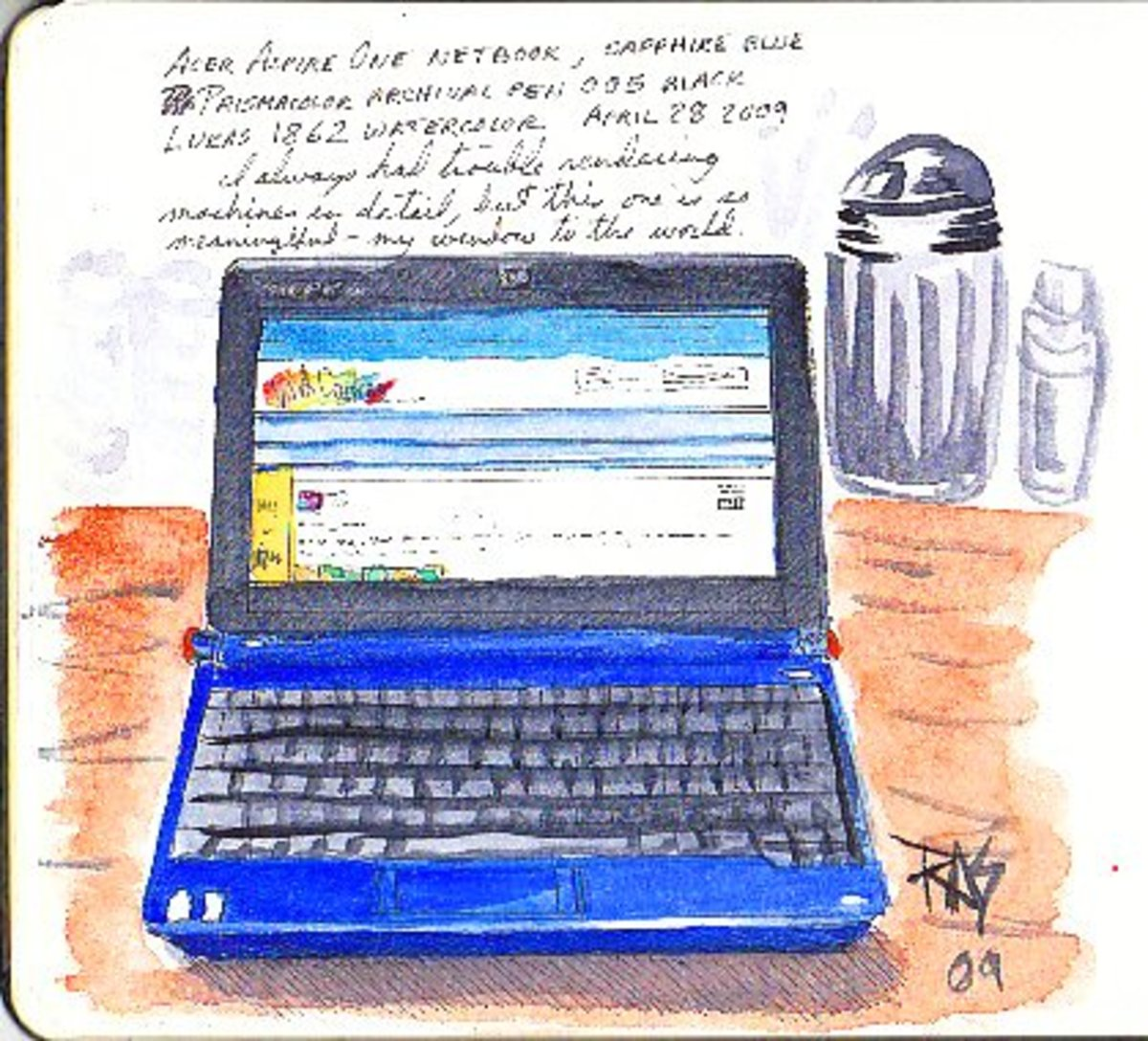 "Acer Aspire One by Robert A. Sloan. Ink and watercolor in 5"" x 8 1/2"" Moleskine watercolor journal."