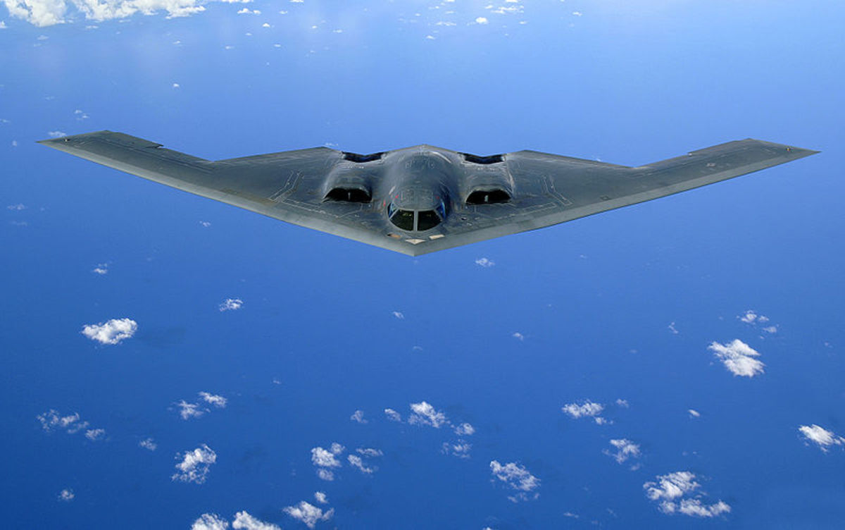 B-2--max bomb payload, 50,000 lbs.  Last production 1997.  Image courtesy Wikipedia.