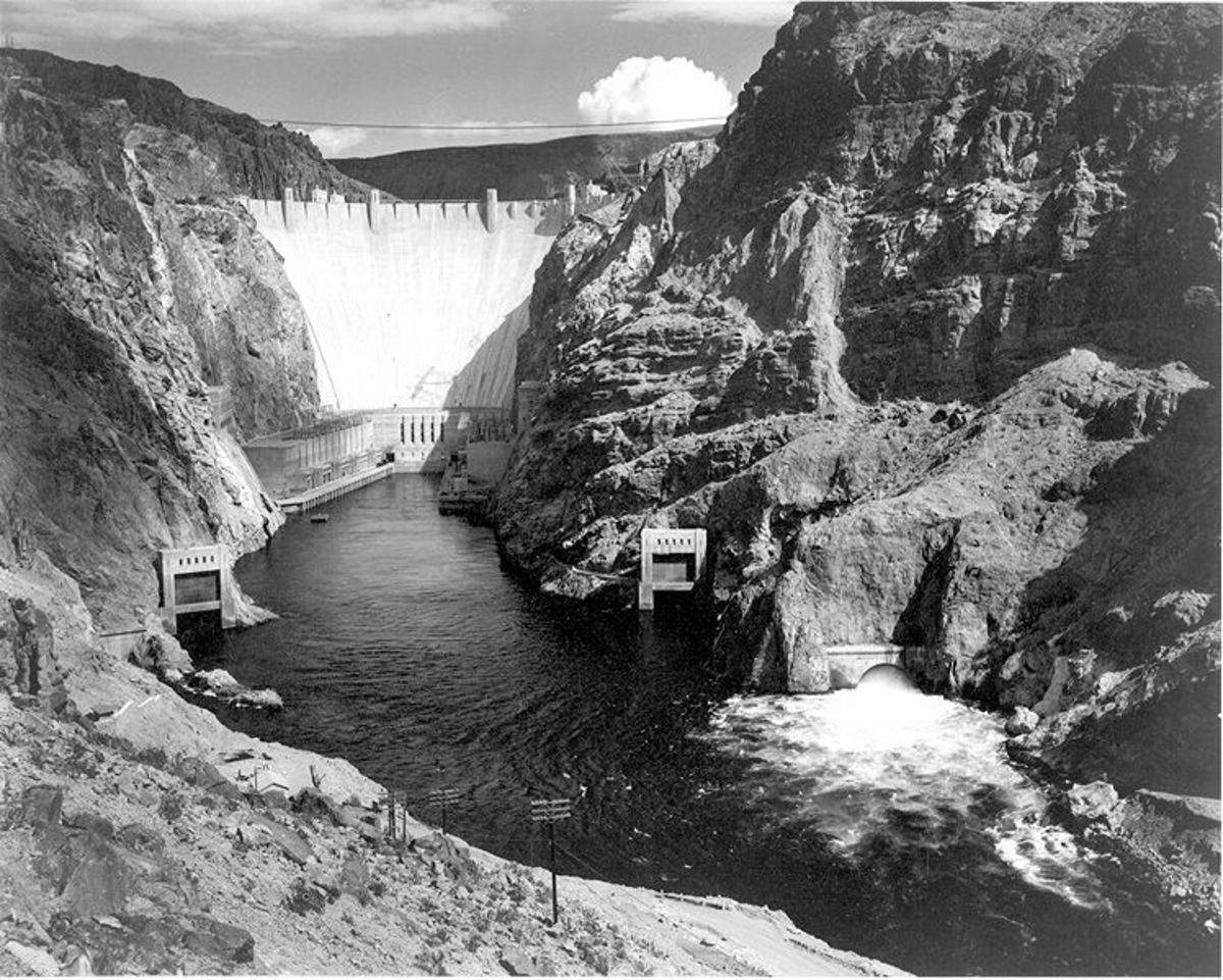 "Ansel Adams photo of Boulder Dam, now the world's 35th-largest hydro-electric dam (and now called ""Hoover Dam."")  Image courtesy the National Parks Service and Wikipedia."