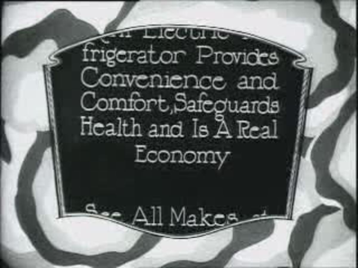 Old movie commercial for electric refrigerator.  Image courtesy Wikipedia.
