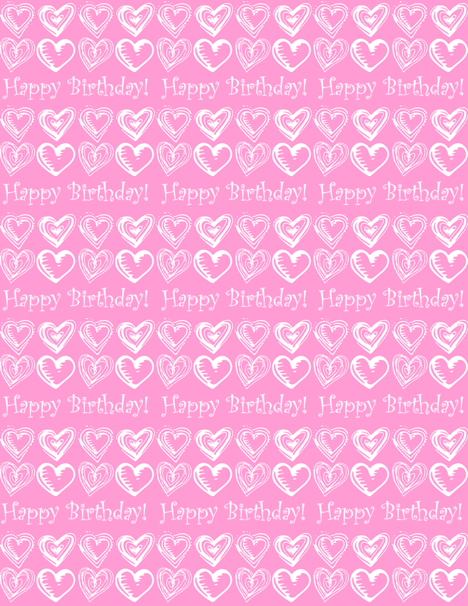 "Small hearts and ""Happy Birthday"" scrapbook paper design -- pink background"