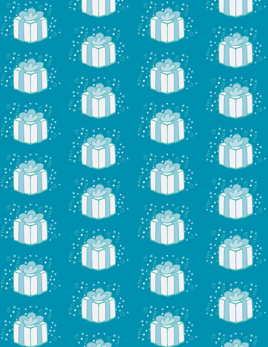 Free whimsical birthday present scrapbook paper design: teal background