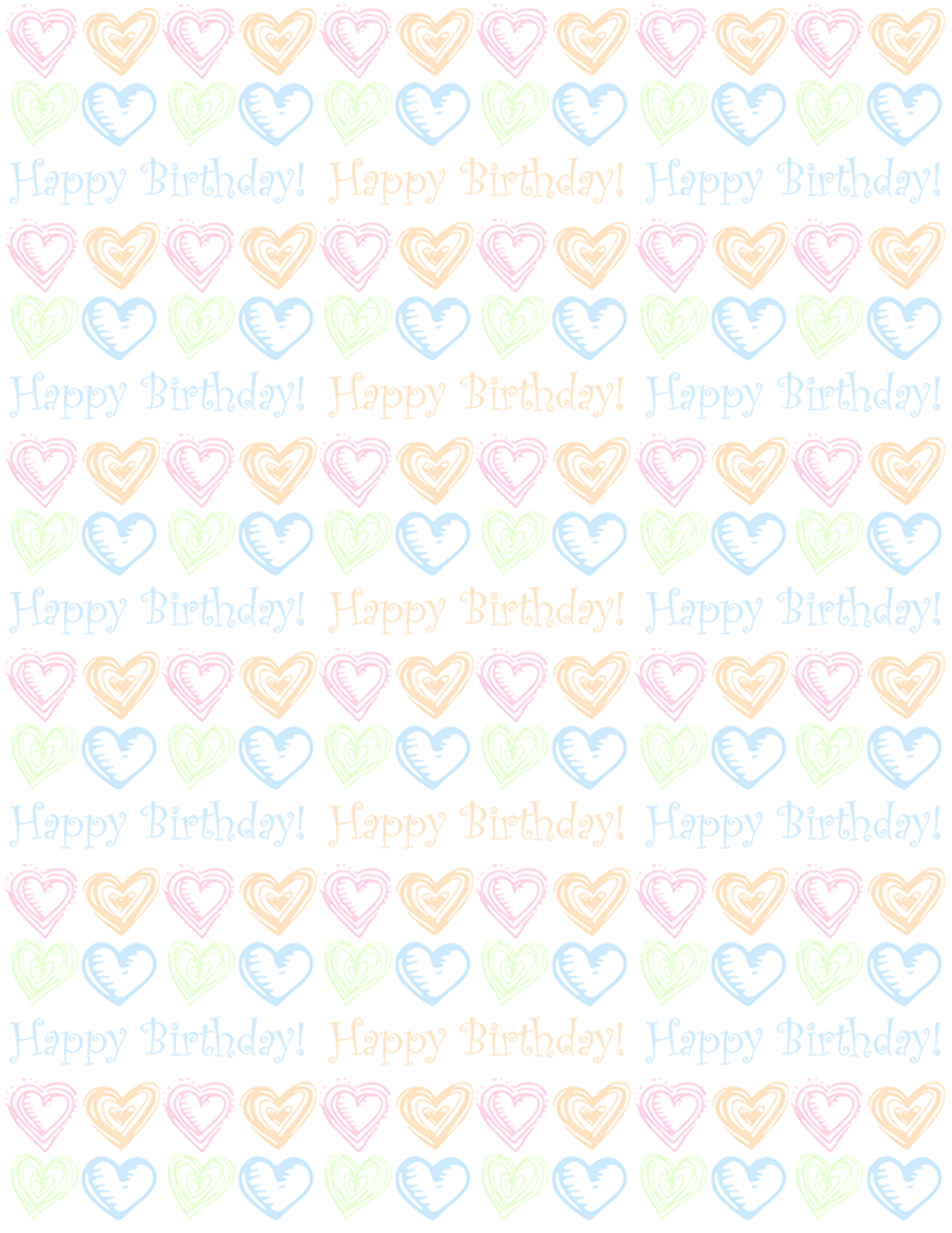 "Faded small hearts and ""Happy Birthday"" scrapbook paper design -- white background"