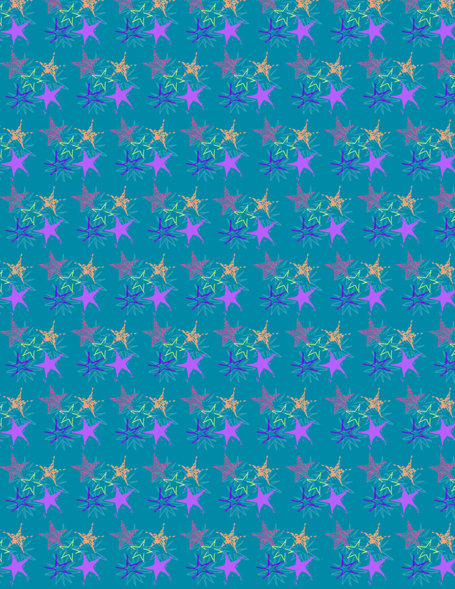 Small starburst scrapbook paper design -- teal background