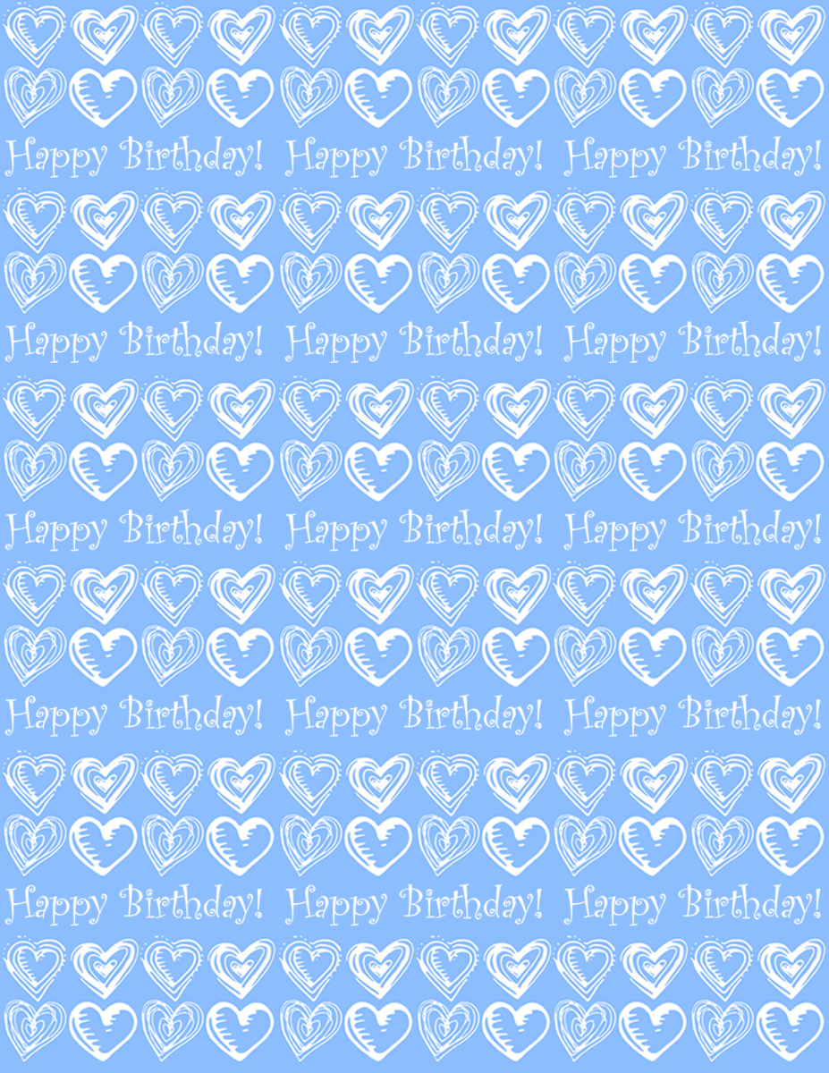 "Small hearts and ""Happy Birthday"" scrapbook paper design -- blue background"