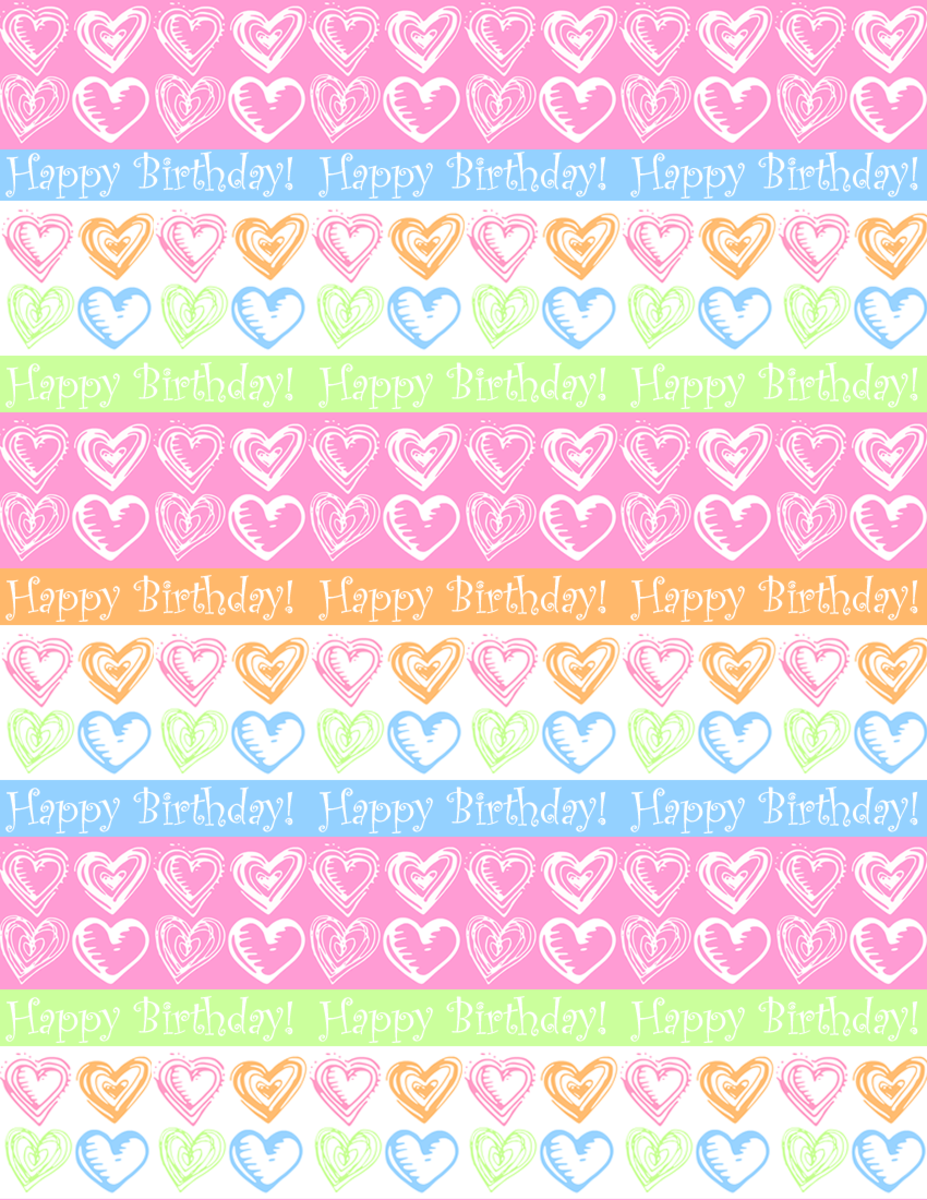 "Free small hearts and stripes ""Happy Birthday"" scrapbook paper design -- white background"