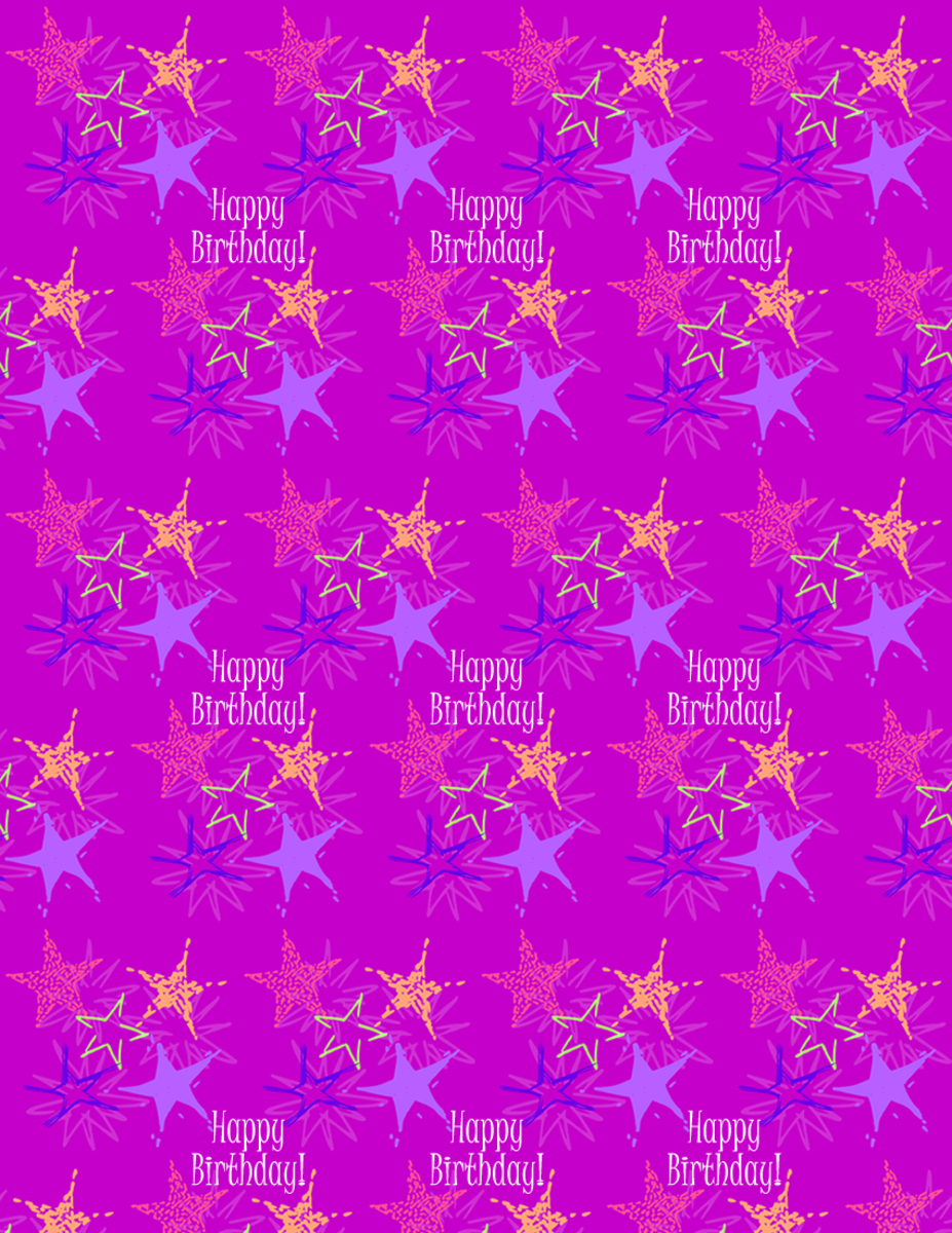 "Starburst and ""Happy Birthday"" scrapbook paper design -- purple background"