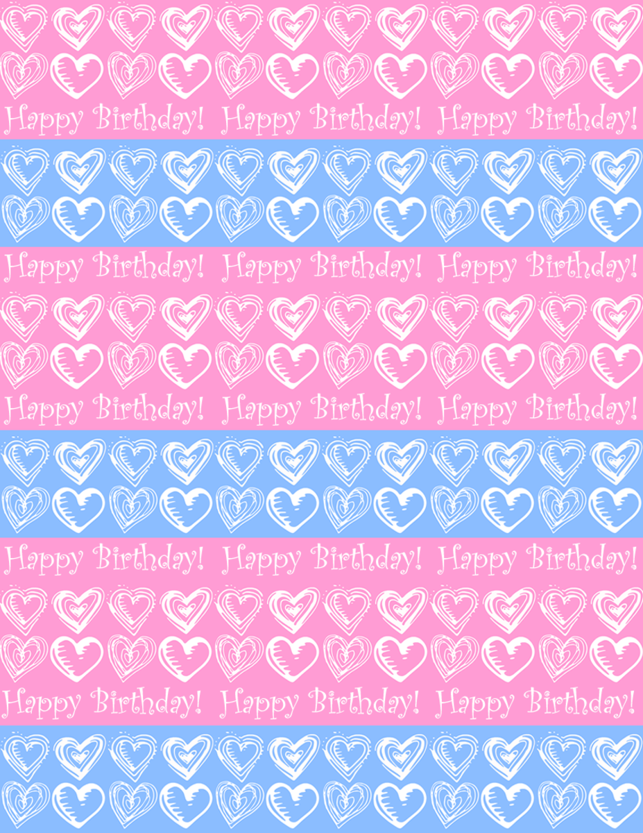 "Free small hearts and stripes ""Happy Birthday"" scrapbook paper design -- blue and pink  background"