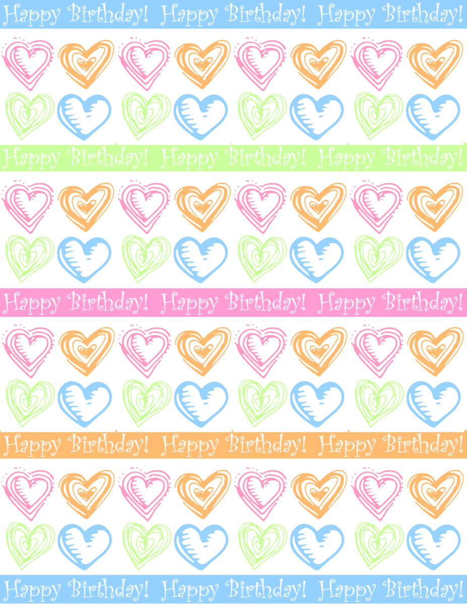 "Large hearts and stripes ""Happy Birthday"" scrapbook paper design -- white background"