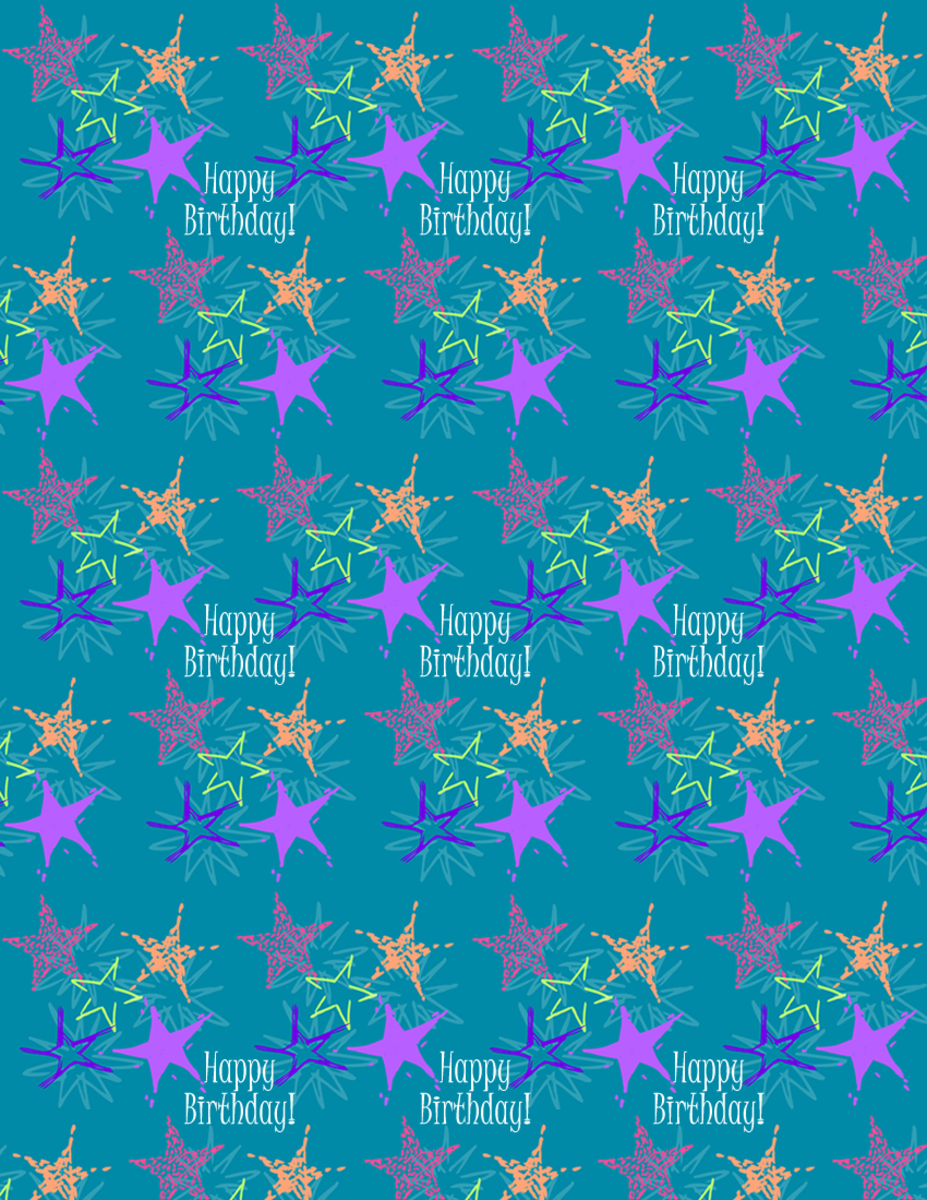 "Starburst and ""Happy Birthday"" scrapbook paper design -- teal background"