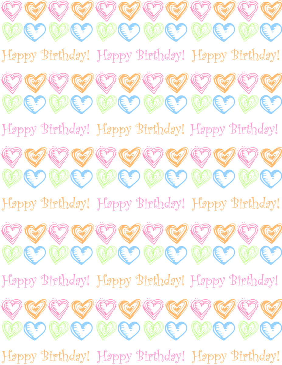 "Free small hearts and ""Happy Birthday"" scrapbook paper design -- white background"