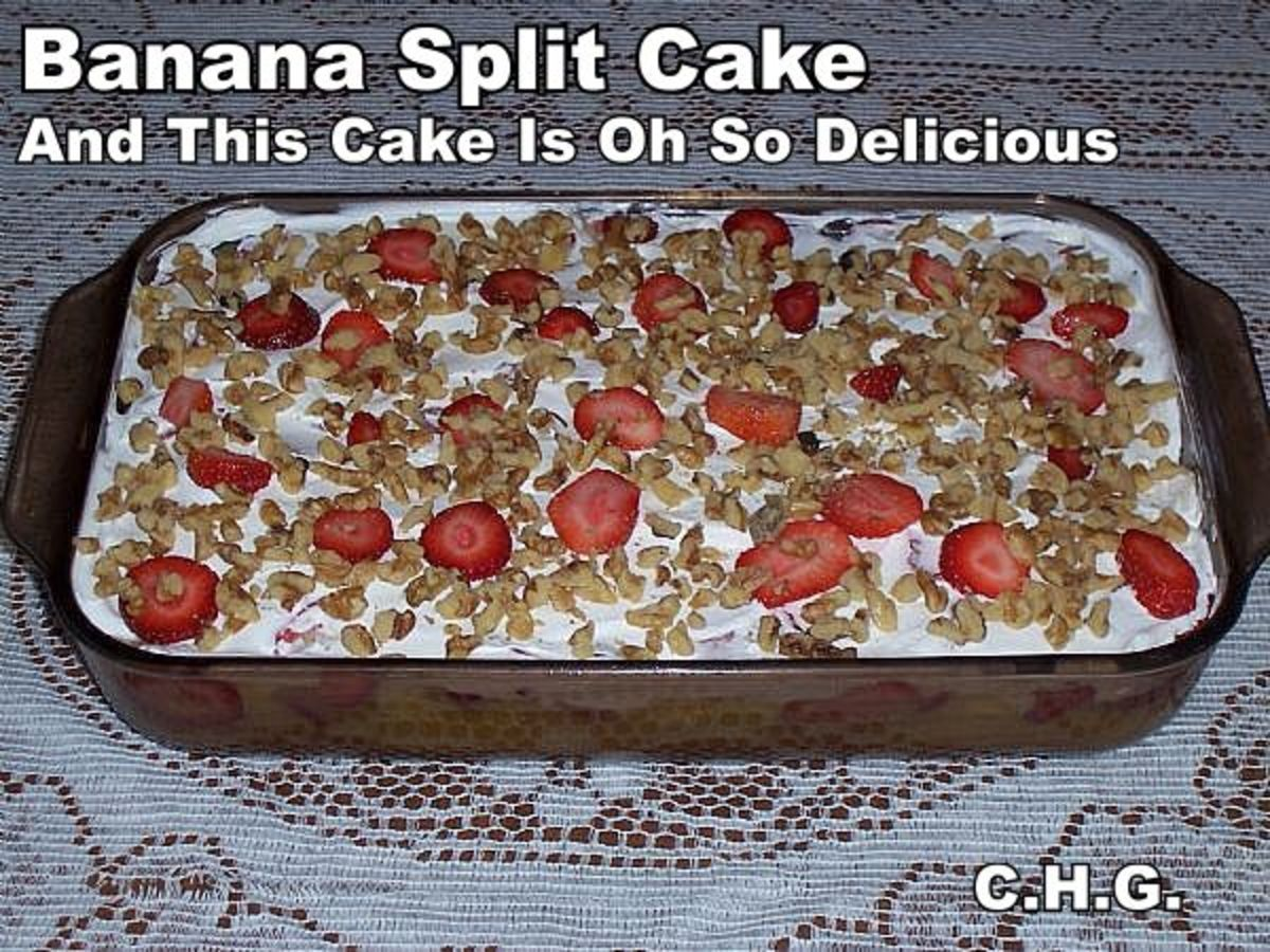 Truly one of the best recipes for banana split cake that you will ever eat. It is oh so delicious and really surprises people when they taste it.