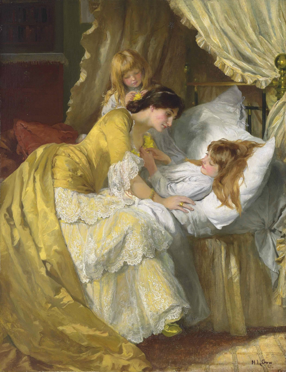 leaning over bed painting