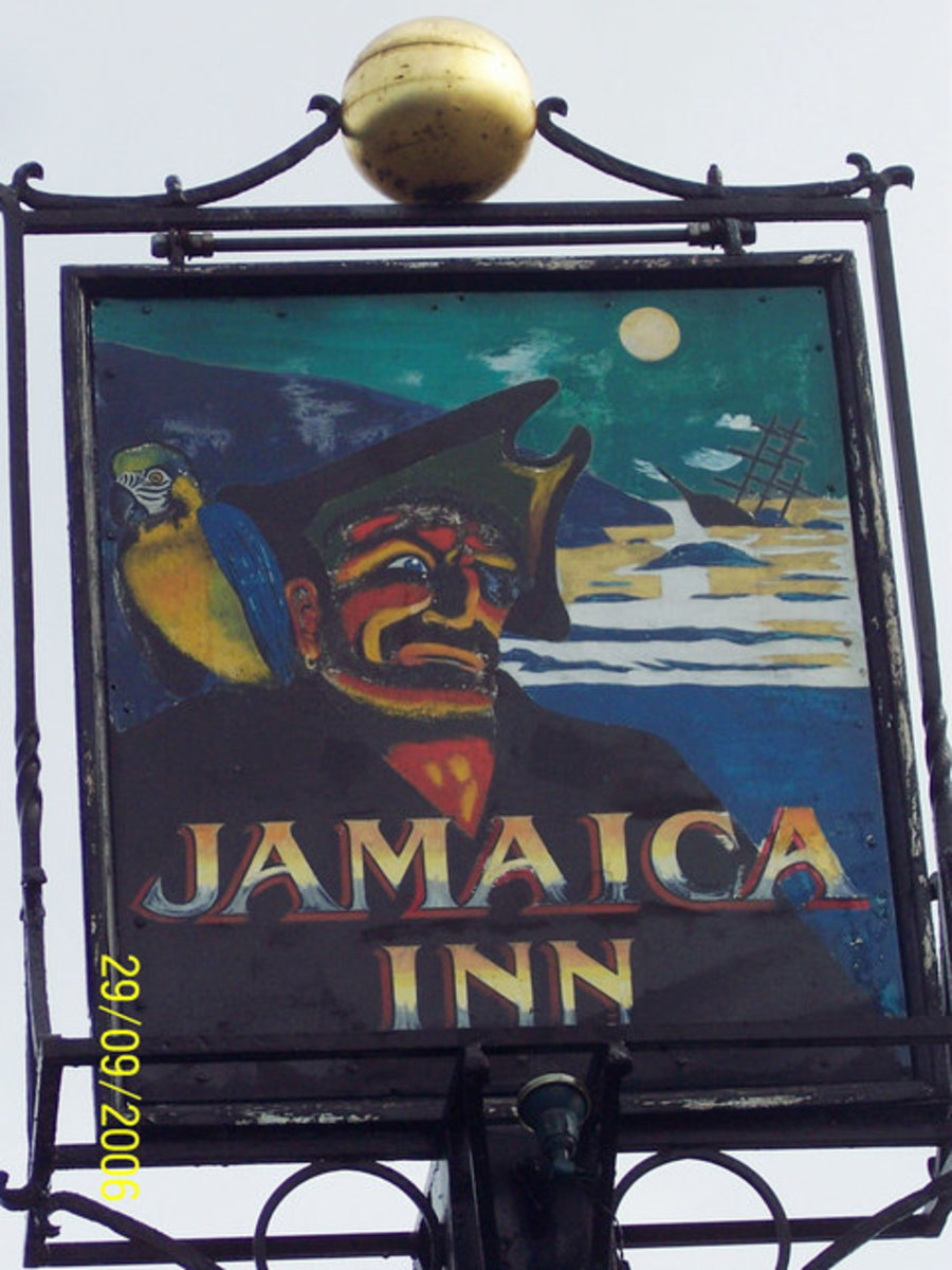 Haunted Pubs and Inns in Cornwall: Jamaica Inn pub sign, Bodmin Moor, Cornwall. Haunted inn.