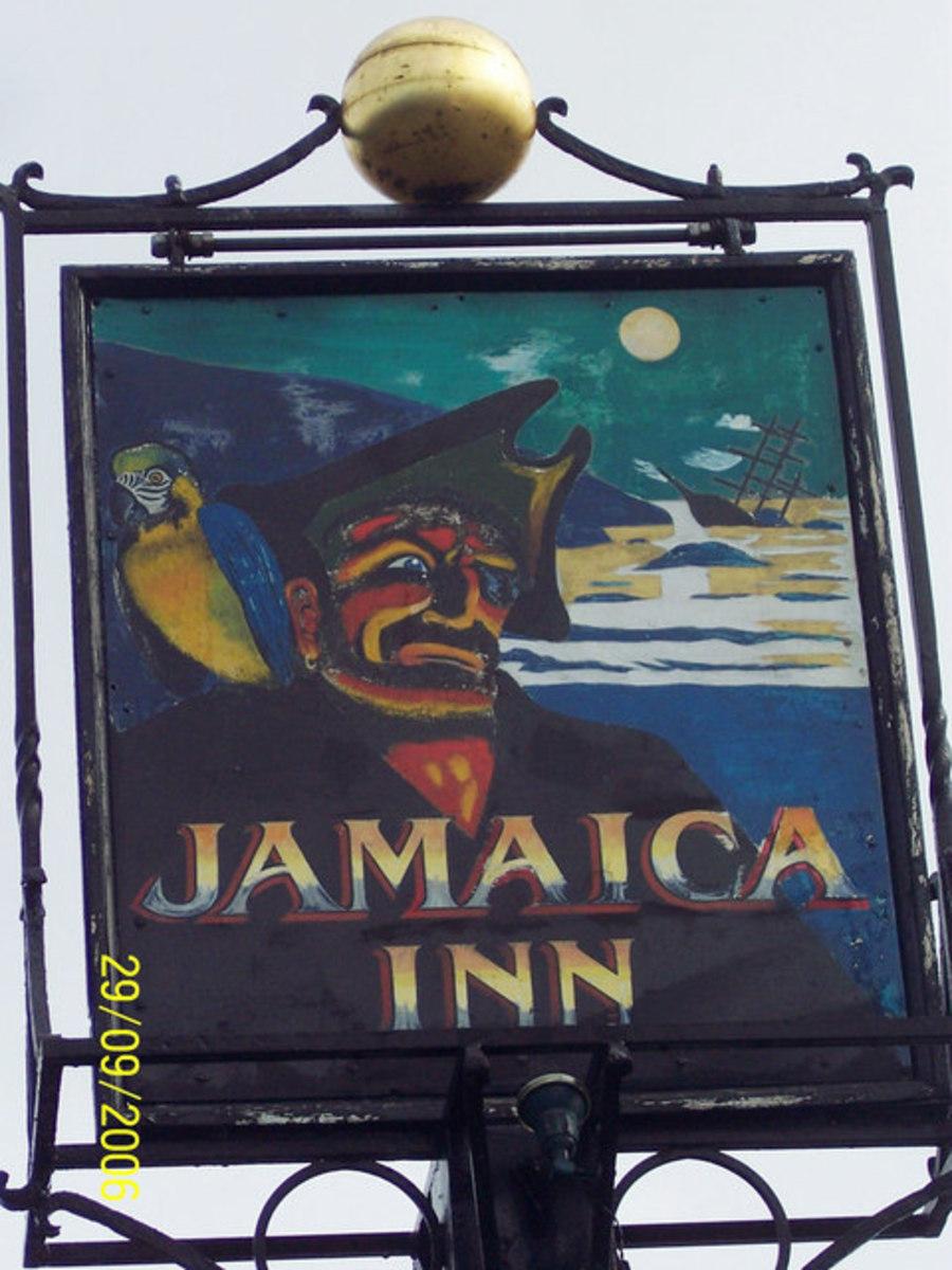 Haunted Pubs and Inns in Cornwall: Jamaica Inn pub sign, Bodmin Moor, Cornwall. Haunted inn.