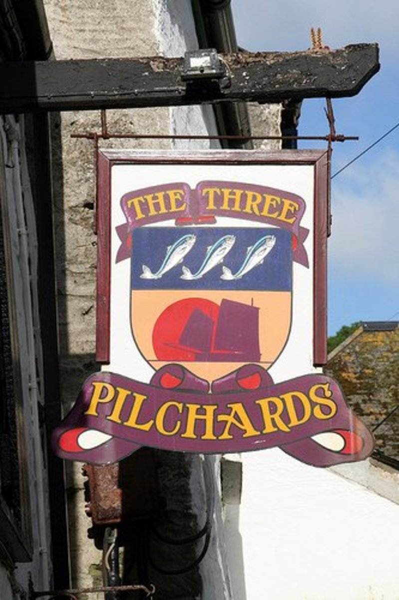 Haunted Pubs and Inns of Cornwall.  The Three Pilchards, Polperro. Pub sign. Haunted pub