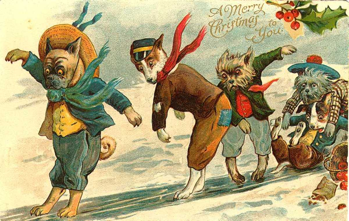 Free vintage animal holiday card -- dogs slipping on winter ice