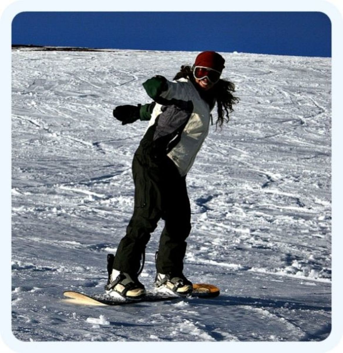 Snowboarder Nyree Sails Past Me with a Smile. Mauna Kea - Big Island of Hawaii