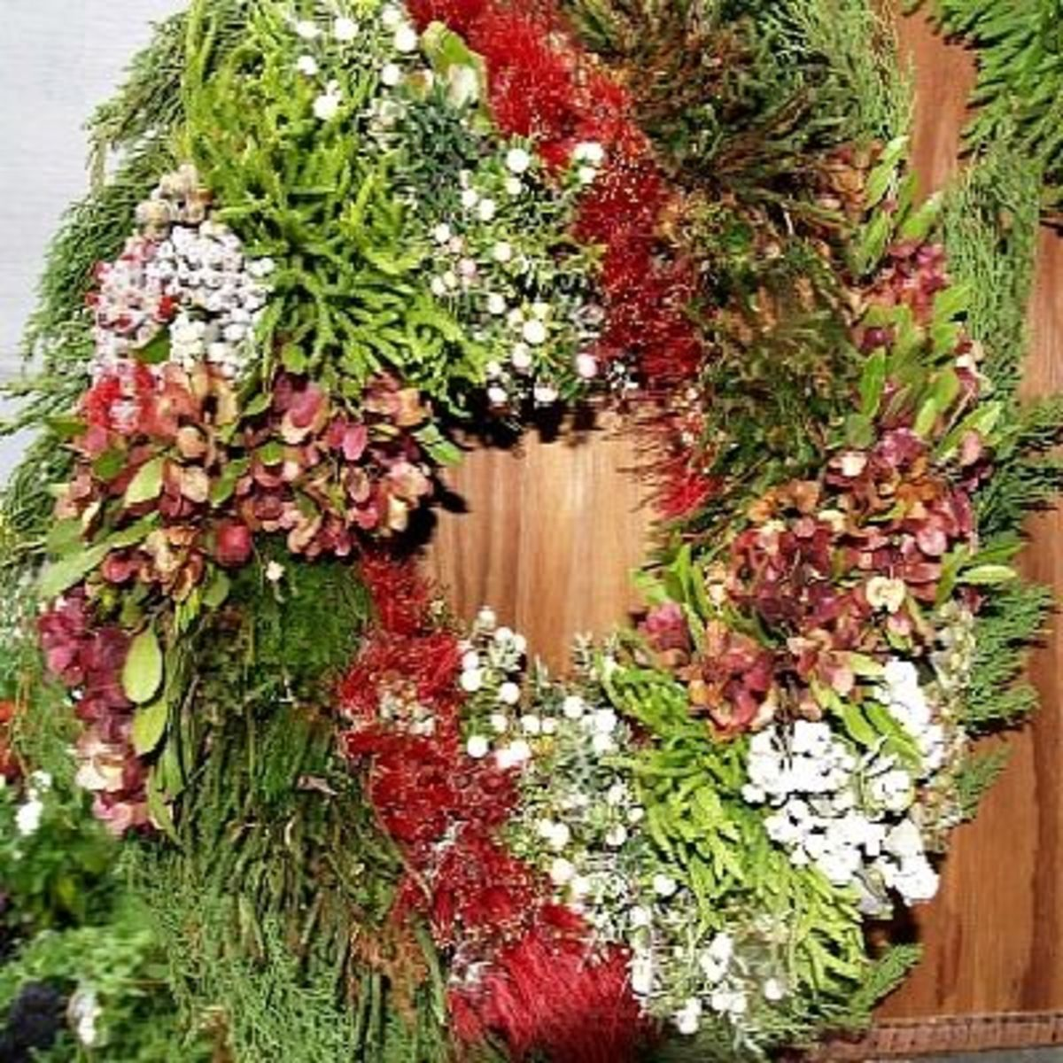 A Christmas wreath made of all natural vegetation from the Volcano area,