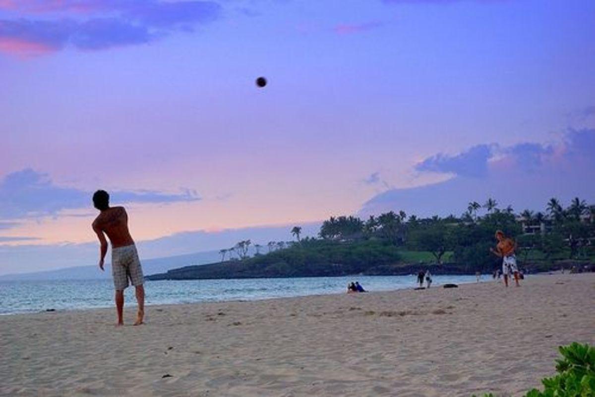 Tossing Ball on Hapuna Beach