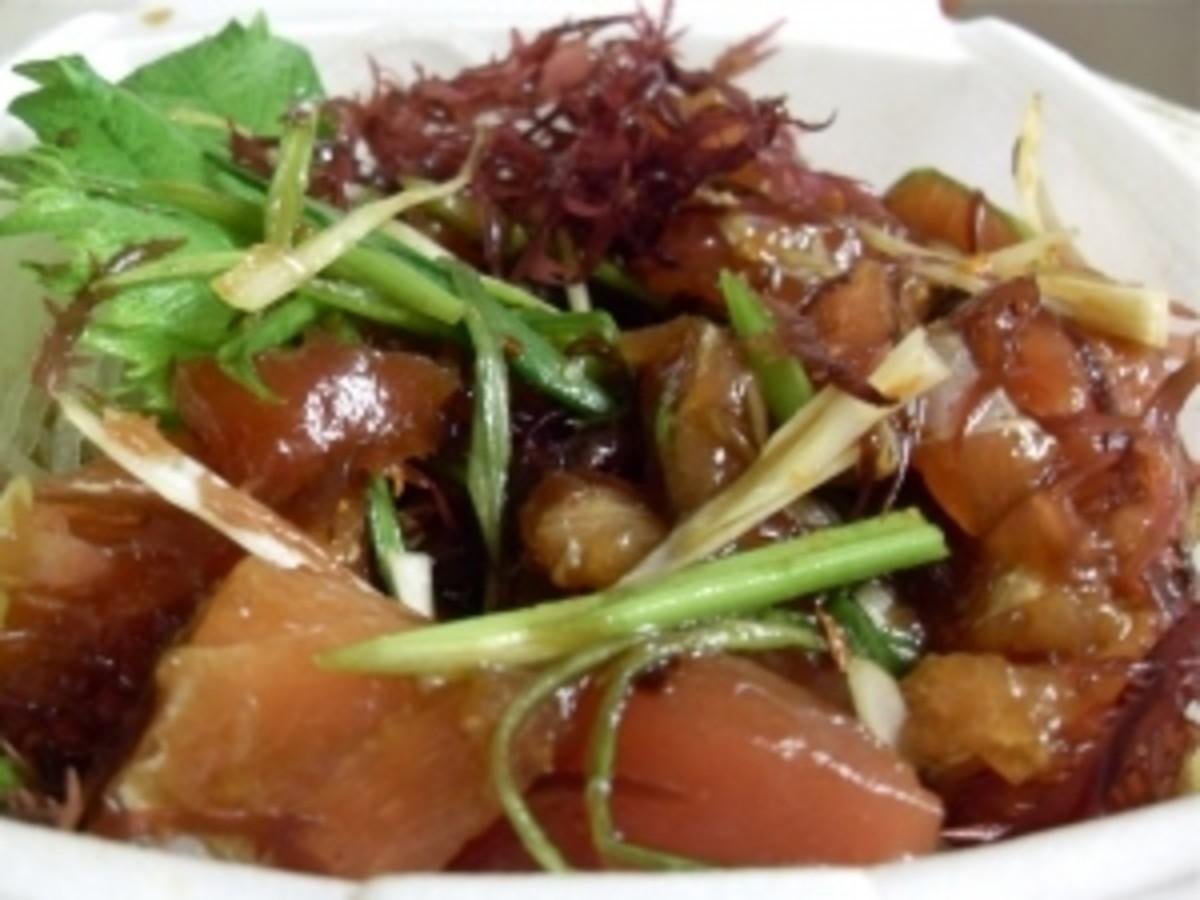 Hawaiian Ahi Poke - raw ahi (tuna), green onion, Hawaiian chili pepper, soy sauce and limu (seaweed
