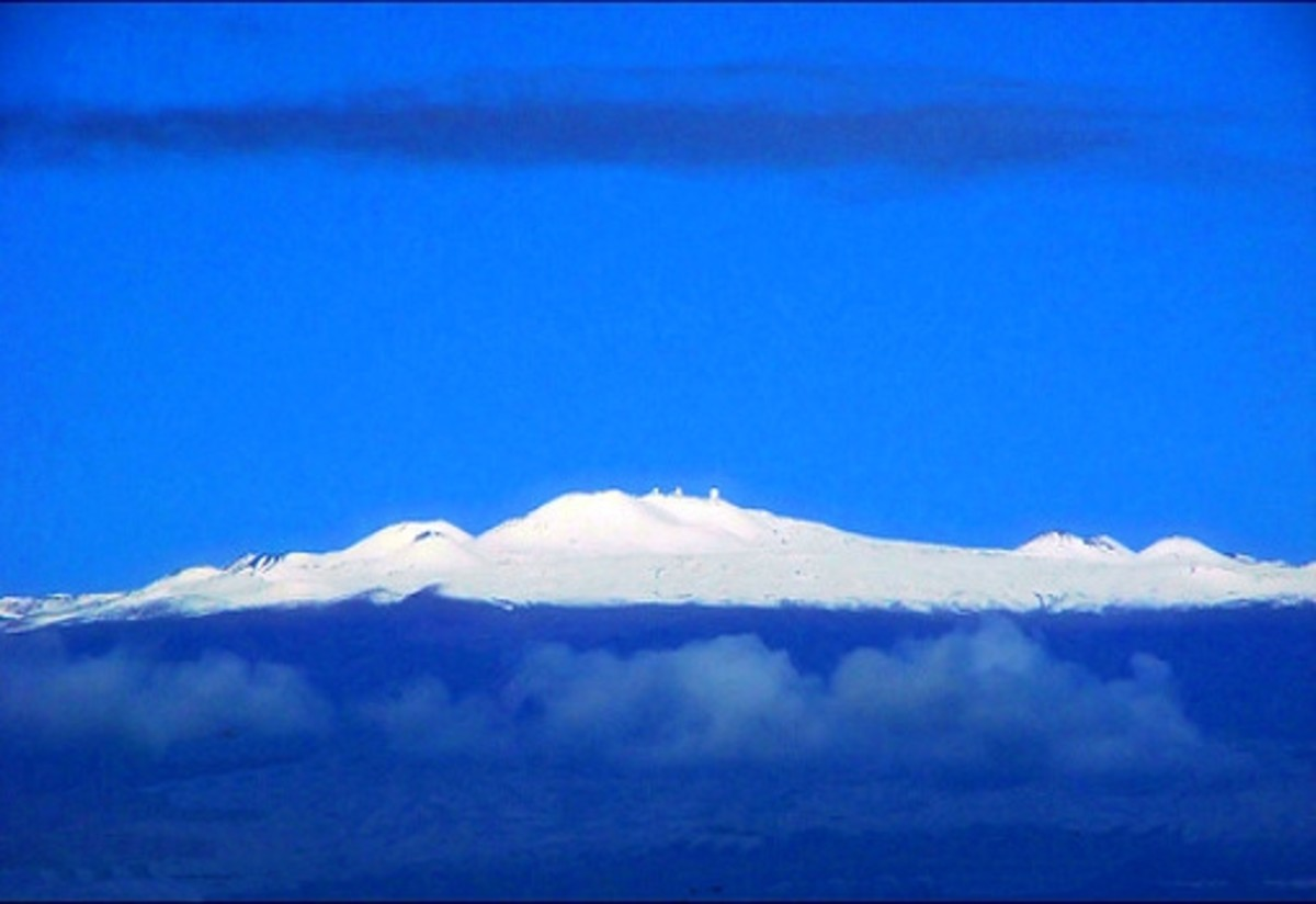Christmas in Hawaii with Snow on Top of Mauna Kea
