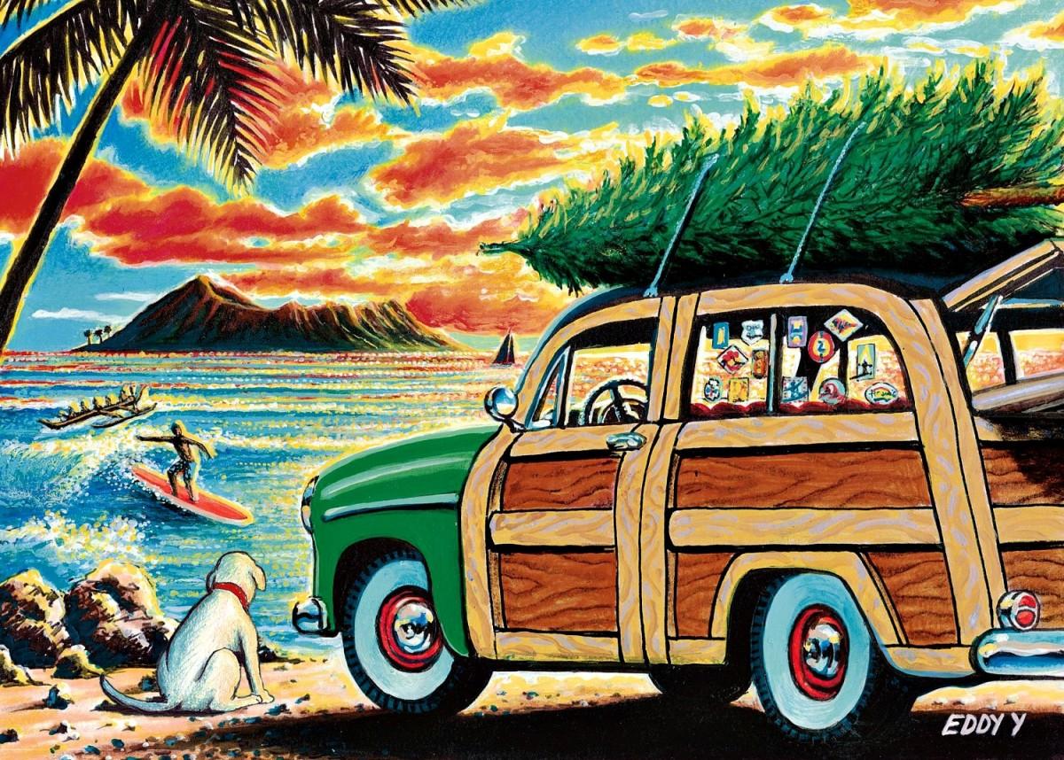 Hawaiian Christmas Cards  - Surfing Holidays by Eddy Yamamoto