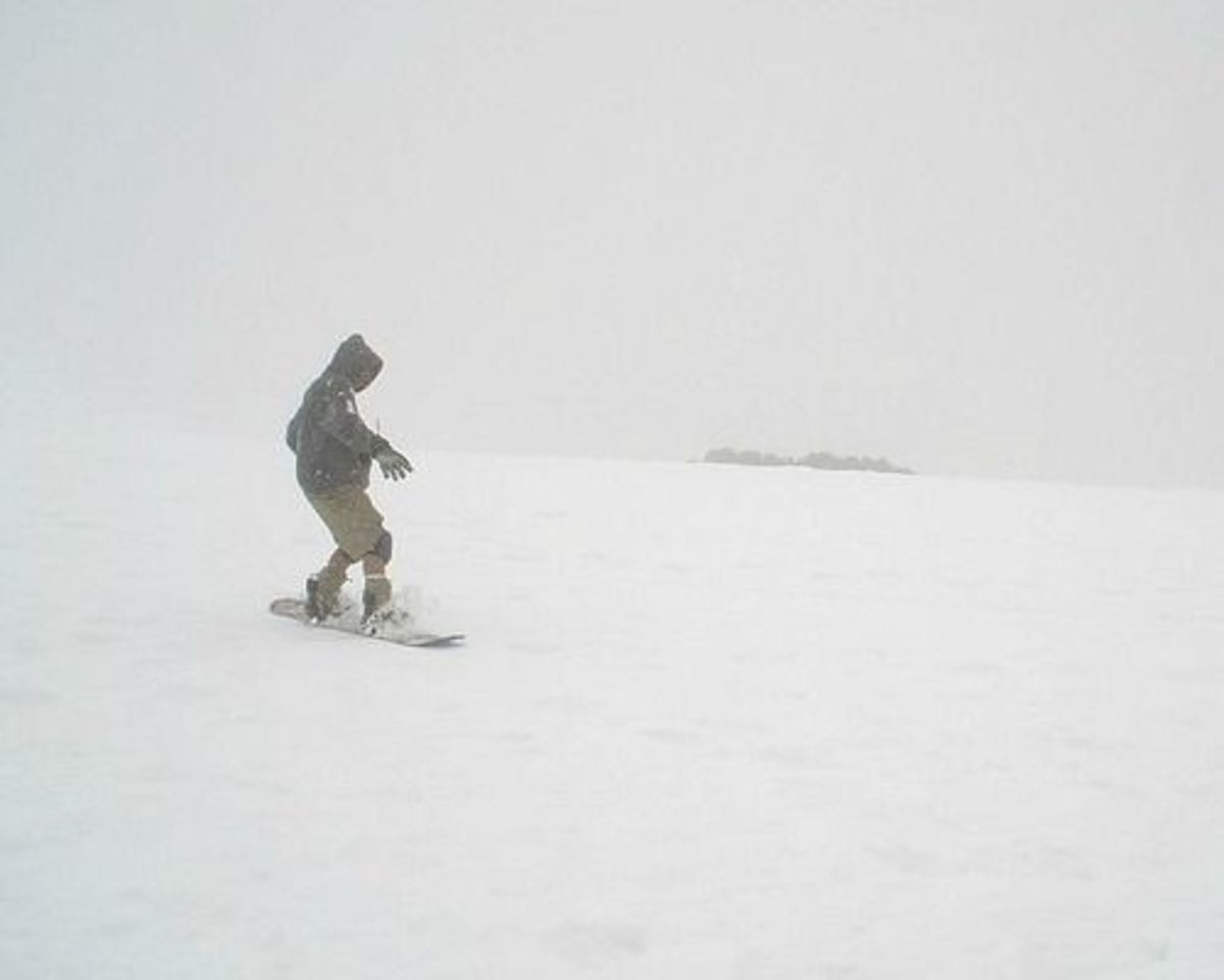 Photo of Snow Boarder on Mauna Kea, Big Island of Hawaii