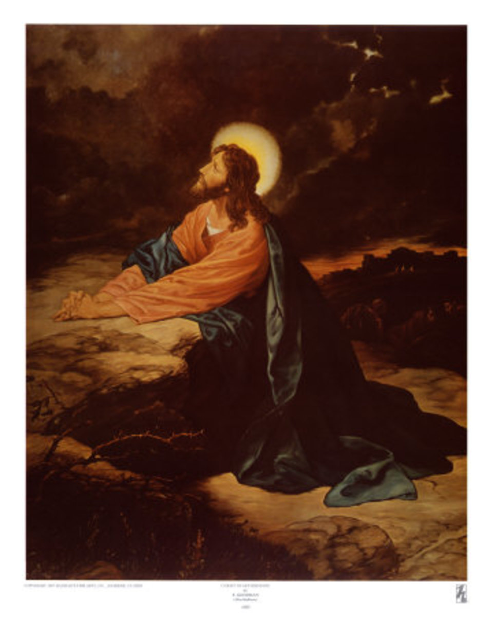"Oil Painting by E. Goodman, entitled ""Christ at Gethsemane"", photo courtesy of allposters.com"