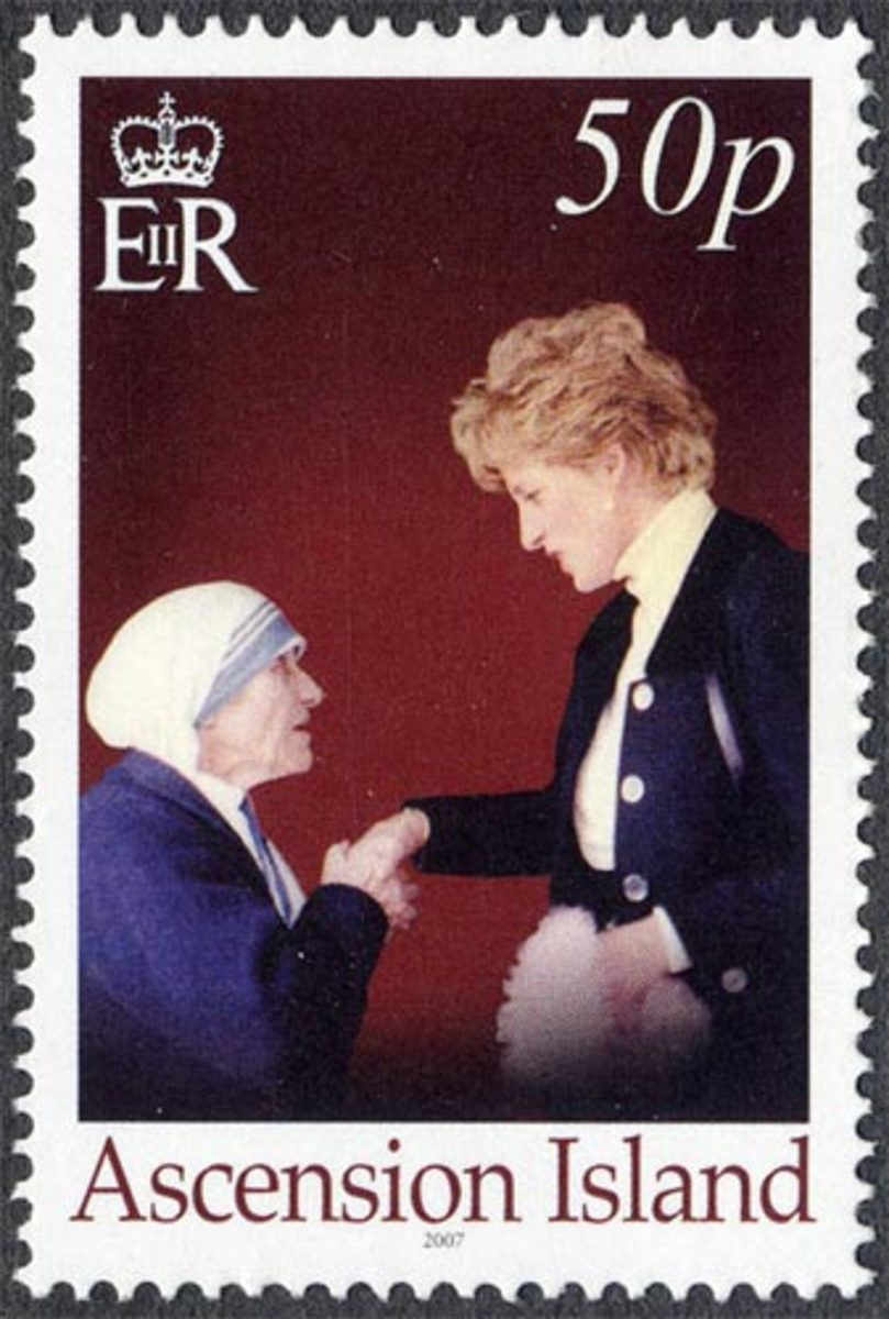 Mother Teresa and Princess Diana Greeting Each Other with a Hand Shake on a Postage Stamp