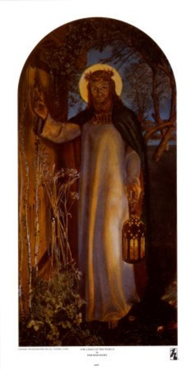 "Oil Painting by Holman Hunt, entitled ""Light of the World"", photo courtesy of allposters.com"