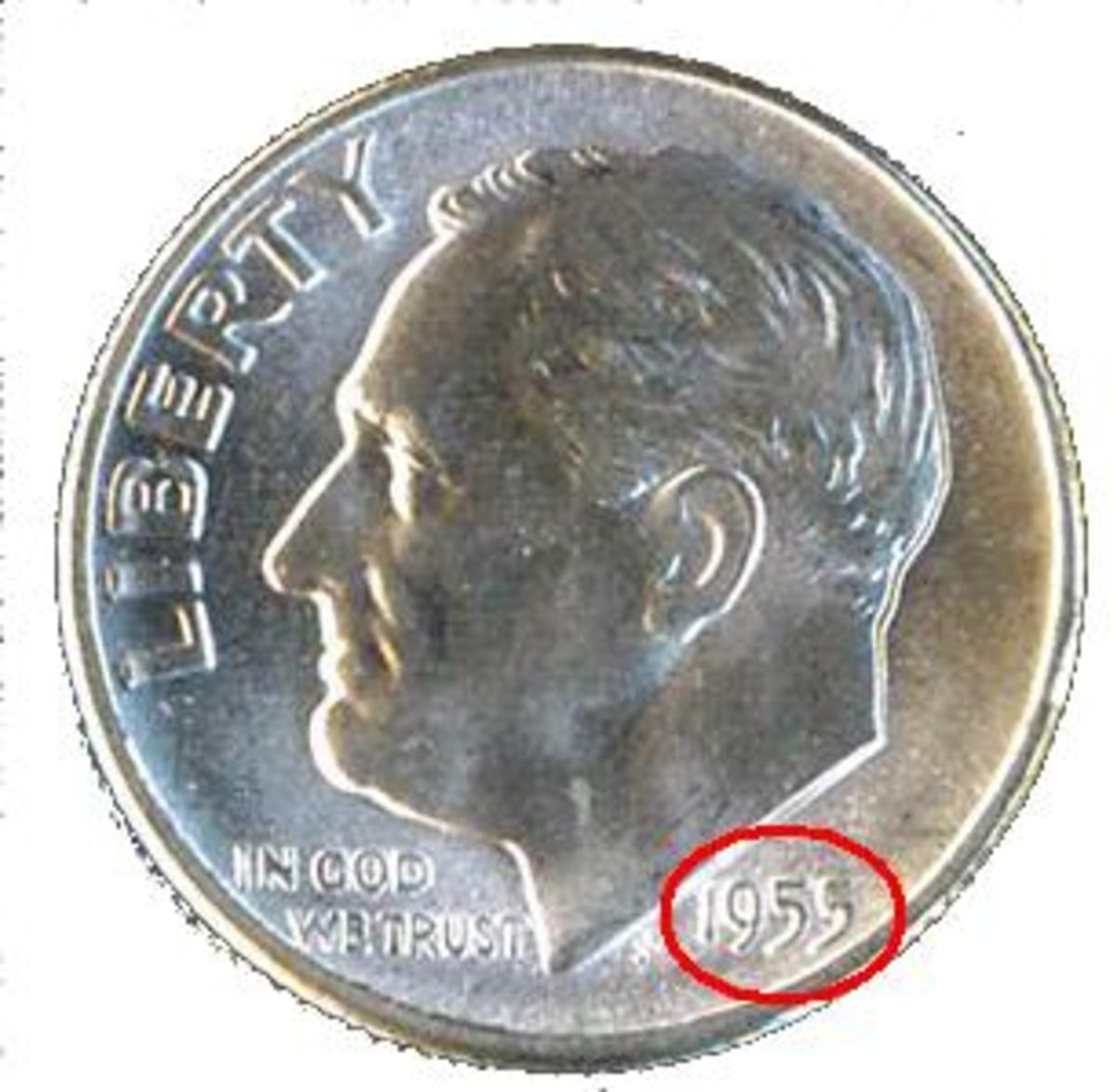 The Date is located at the base of Roosevelt's neckline.