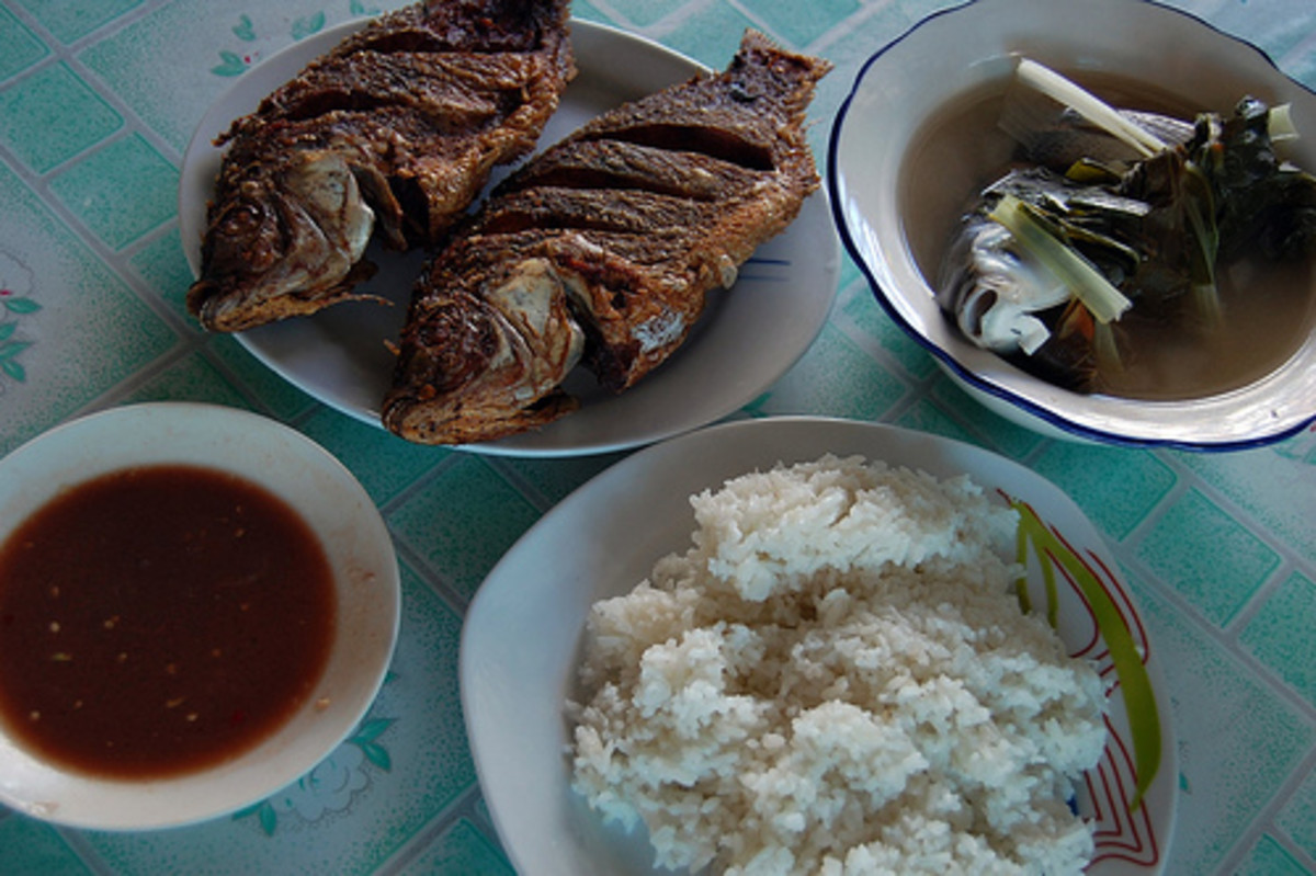 Fried Tilapia, Sinigang na Bangus, and Rice (Photo courtesy by ~MVI~ from Flickr.com)