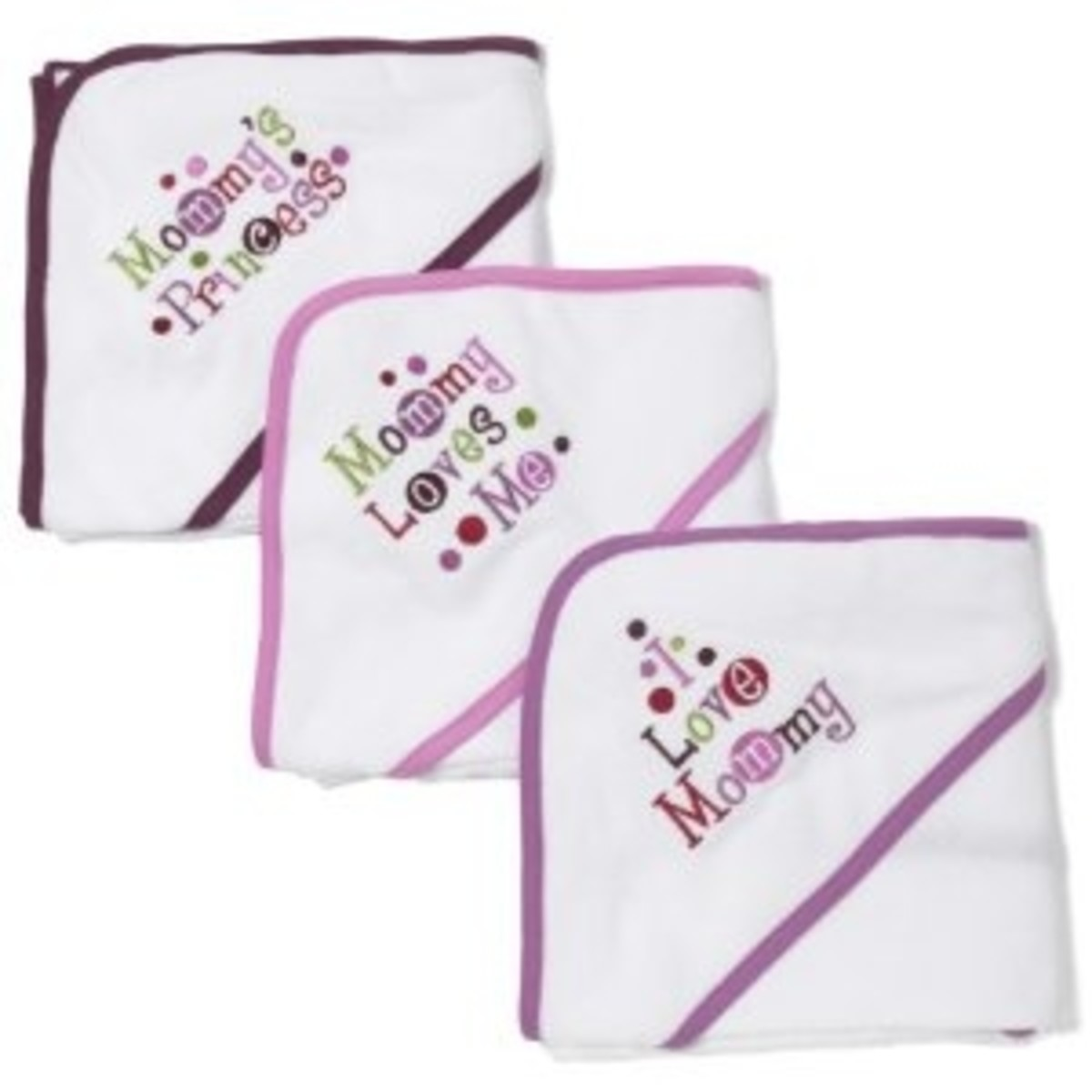 Frenchie Hooded Towels, 3 Pack, Mom Princess