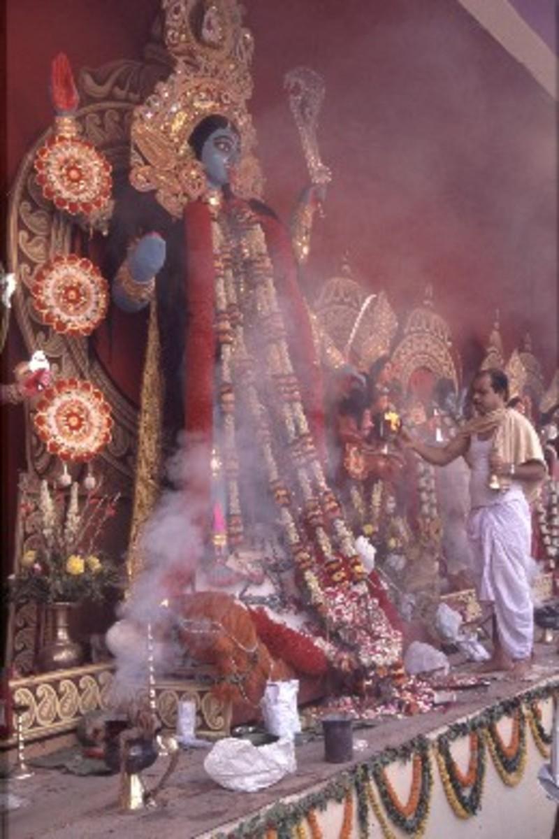 Kali Pooja (ritualistic praying to Goddess Kali)