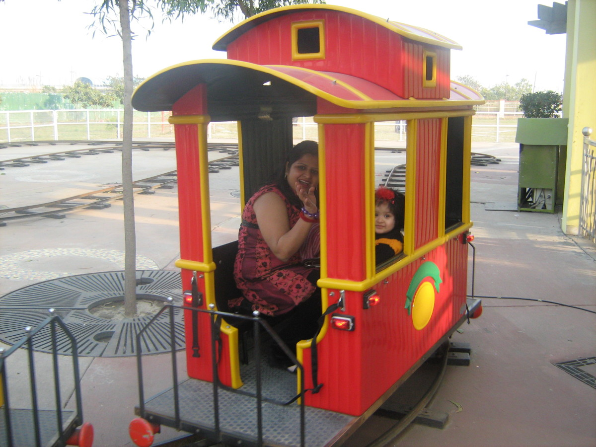 Mini Train Ride in La Fiesta in Worlds of Wonder Amusement Park in Noida